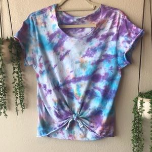 Custom Tie Dye Tee Shirt Top With Tie, Size Small